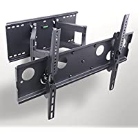 Duramount Articulating TV Wall Mount - Swivel Full Motion Tilt Bracket Dual-Arm Heavy-Duty For 32 to 65 LED, LCD, Plasma, Flat Screen Monitors - With Built-In Bubble Level and 9' HDMI Cable