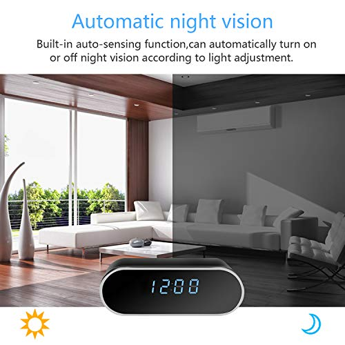 Hidden Camera Clock1080P HD, Wireless Mini Spy Camera with Battery,Security Nanny Camera with Automatic Night Vision, Motion Detection, Real Time Monitor for Home,Baby Monitoring,Store,Warehouse.