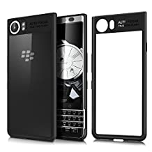 Blackberry Keyone Black Cover,Seetop Ultra Thin Clear Hard PC Soft Silicone TPU Bumper Scratch Resistant Shockproof case for Blackberry keyone(Black)