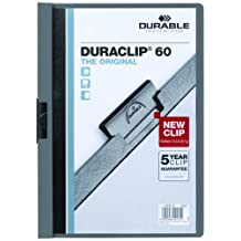 Durable Vinyl DuraClip Report Cover with Clip, Letter, Holds 60 Pages, Clear/Graphite (DBL221457)