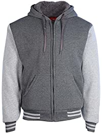 Men's Sherpa Lined Varsity Full Zip Hooded Jacket