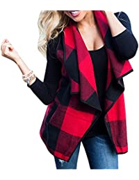 Women's Turn-Down Collar Casual Slash Hem Plaid Sleeveless Open Front Cardigan Vest With Pocket (S-2XL)