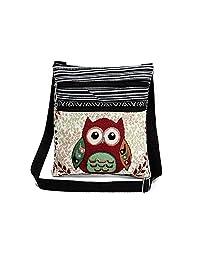 Oak-Pine Women Designer Canvas Zipper Messenger Bag Young Ladies Girls Cute Owl Printed Shoulder Bag Mini Exotic Bohemian Crossbody Bags