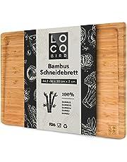 Loco Bird massieve bamboe snijplank met sapgroef - 44,8x30x2 cm grote snijplank van hout-vlees snijplank voor de keuken - antibacteriële houten snijplank