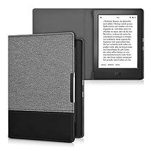 kwmobile canvas cover for Kobo Aura H2O Edition 1 - linen e-book case cover protective cover in dark grey black