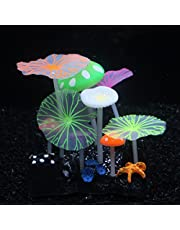 SLOCME Aquarium Glowing Mushroom Lotus Leaves Decorations - Fish Tank Decoration Silicone Ornament, Eco-Friendly for Freshwater Saltwater Aquarium Betta Fish Environments