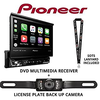 Sale Off Pioneer AVH-3300NEX 7' Single Din DVD Receiver Apple CarPlay Built in Bluetooth with License Plate Style Backup Camera and a Free SOTS Lanyard