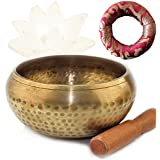 Tibetan Singing Bowl Set – Experience Beautiful Sound, Rich Pleasing Tones, and Relaxation – Hand Hammered bowl with Hand Sewn Cushion and Wooden Striker