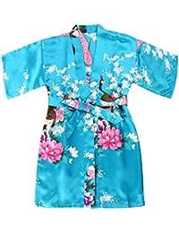 WonderFit Girls Stain Kimono Peacock Flower Robe for Spa Wedding Birthday Lake blue 9-10
