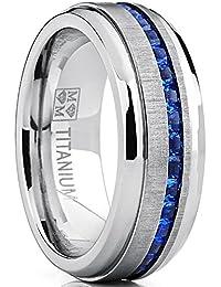 Men's Eternity Titanium Wedding Band Engagement Ring W/ Blue Simulated Sapphire Cubic Zirconia Princess CZ