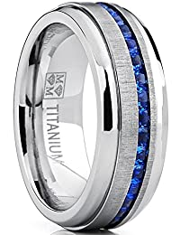 Men's Eternity Titanium Wedding Band Engagement Ring W/Blue Simulated Sapphire Cubic Zirconia Princess CZ