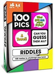 100 PICS Riddles Card Game - Funny Family Travel Word Puzzle Brain Games for Smart Kids and Adults