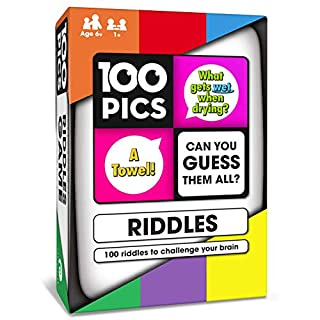 100 PICS Riddles Travel Card Game • Family Brain Teasers • Pocket Puzzles for Kids and Adults