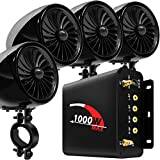 "GoldenHawk 1000W 4 Channel Amplifier 4"" Full Range Waterproof Bluetooth Wireless Motorcycle Stereo Speakers Audio Amp System w/AUX, USB, SD, FM Radio for Harley Touring Cruiser Can-Am ATV (BLK-1000W)"