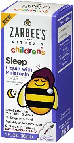 Zarbee's Naturals Children's Sleep Liquid with Melatonin, Natural Berry Flavor, 1 Ounce Bottle