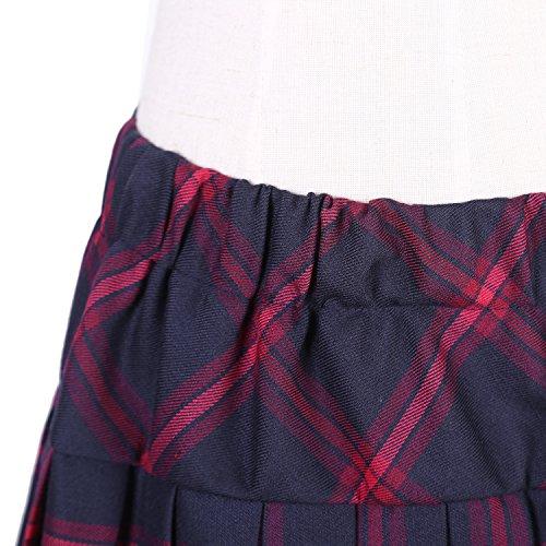 New Women/'s Red Tartan Elastic Stretch Waist Skater Mini Skirt UK 8-14