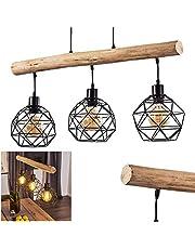Lampa wisząca Bacabal, lampa wisząca z metalu/drewna w kolorze czarnym/naturalnym, 3-żarówkowa, 3 x E27 maks. 60 W, lampa wisząca z regulacją wysokości o wyglądzie kratki, nadaje się do żarówek LED..