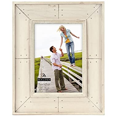 Malden International Designs Sun Washed Woods Sand Distressed With Inner Frame Border Picture Frame, 5x7, Sand