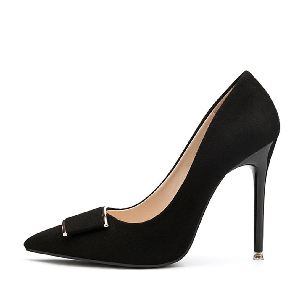 ALUK- Damenschuhe - Europa und die Vereinigten Staaten Stöckelschuhe Spitze professionelle Kleidung Schuhe ( Farbe   Schwarz , größe   35-schuhe long225mm )