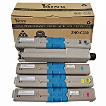 V4INK New Compatible OKI 44469801/44469703/44469702/44469701 Toner Cartridgee-Color (BK/C/M/Y) (OKI C330) for OKI C310/C330/C510/C530/MC361 MFP/MC561 MFP Series(4 Pack-Black/Cyan/Yellow/ Magenta)
