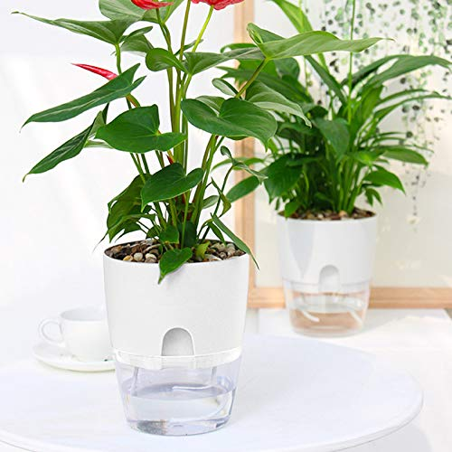 AITREASURE Plastic Plant Pots Self Watering Flower Planters Pack of 5 Flower Pots for Indoor Outdoor with Cotton Rope
