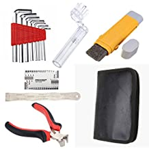 Chinatera A Set Guitar Care Tool Repair Kit- Fingerboard radius ruler, Allen Keys, Picks, Dual Tuners, String Action Ruler, String Cleaner and Lubricant Stick, String Cutting Pliers, PU Leather Bag