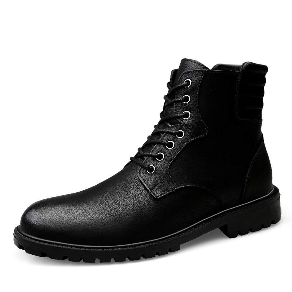 Herrenmode Stiefeletten, Casual British Style Einfache Anti-Rutsch-Laufsohle Schnürung Martin Stiefel (Warm Velvet Optional) (Farbe   Schwarz, Größe   38 EU)