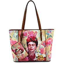 Frida Kahlo Licensed Large Purse, Flowers and Bird Collection, Tote Style