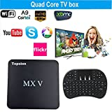 Tops MXV Android TV BOX Amlogic S905 Quad-core Mini PC Streaming Media Player DDR3 2GB/ROM 8GB with Keyboard