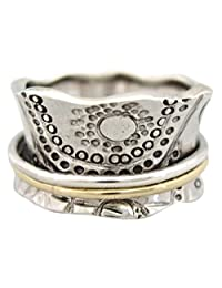 "Energy Stone ""SUN WORSHIP"" Sterling Silver Meditation Spinning Ring 1 Silver and 1 Brass Spinners (SKU# SR14)"