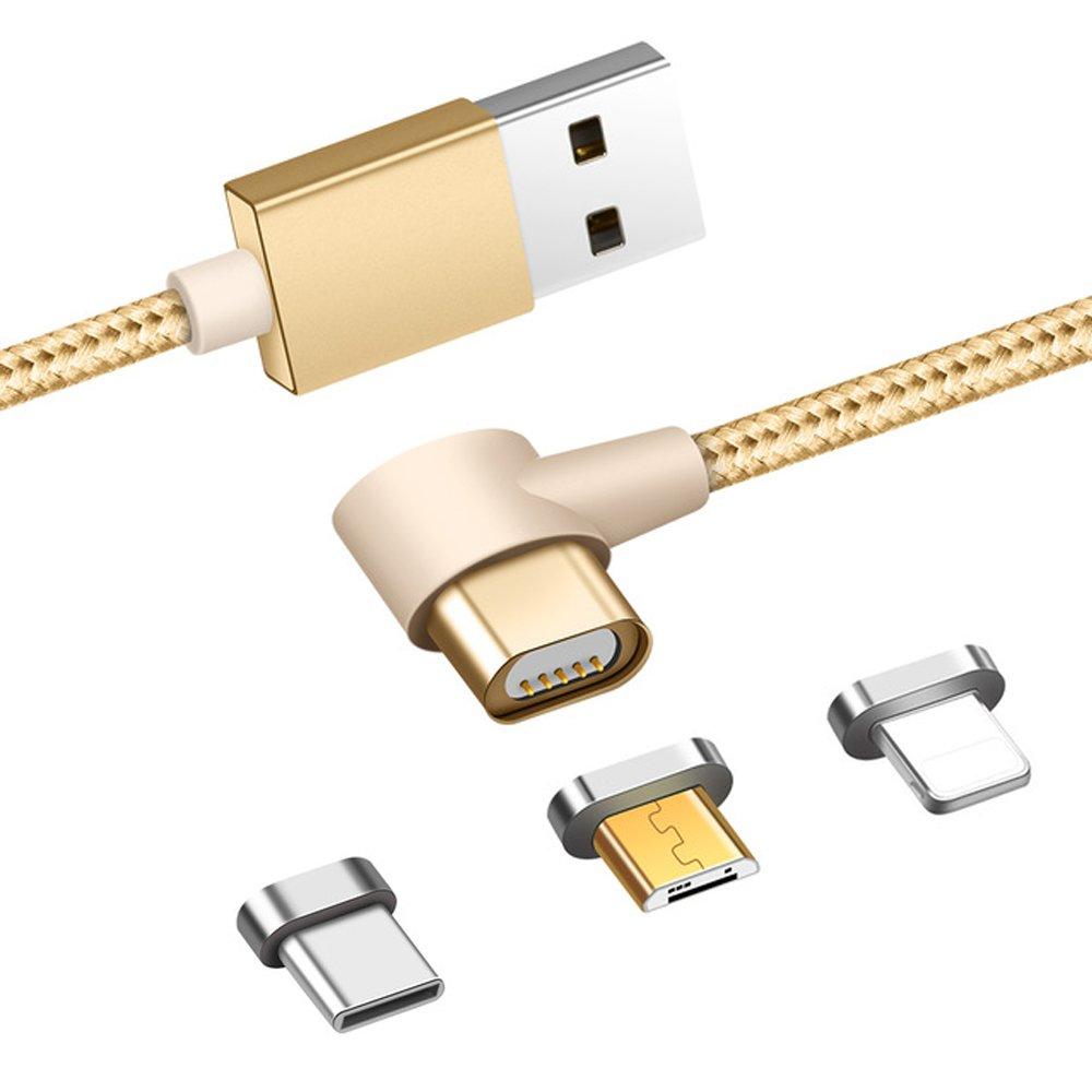 Zrse(ザスイ)【L字型3in1ケーブル】充電 ケーブル マグネット式 L型 断線防止iPhone/Android/Type-C ケーブル 急速充電 データ転送 1m 磁気吸収データライン L字型コネクタ スマホケーブル(ゴールド)