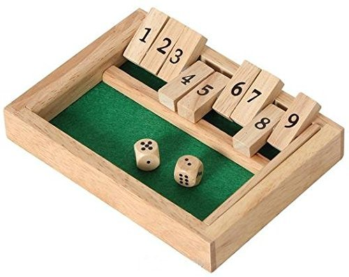 Wooden 9# Shut The Box Game - Mini Travel Set - Simple funny Family, party board game
