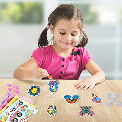 3 otters Window Paint Art Stickers Kit, 58PCS Window Art Kits for Kids Children's Create Your Own Suncatchers Paint Set, DIY Sticker Windows Clings