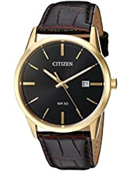 Citizen Mens Quartz Stainless Steel and Leather Casual Watch, Color:Brown (Model: BI5002-06E)