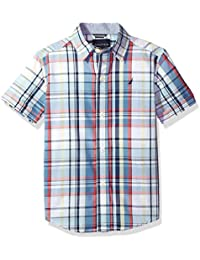 Boys' Short Sleeve Plaid Button Down Shirt With Stretch