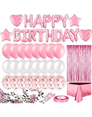 MOVINPE Rose Gold Birthday Balloon Decoration, Happy Birthday Heart Star Fringe Curtain Foil Tablecloth Foil Confetti Balloons 10g Table Confetti for Girls Women Birthday Wedding Party