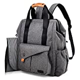 Hap Tim Multifunction Baby Diaper Bag Backpack W Stroller Straps Insulated Pockets Changing Pad Included, Nylon Fabric Waterproof for Moms Dads Gray