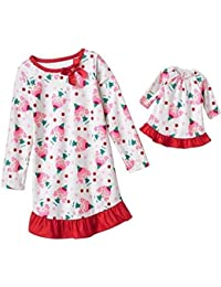 Girl's Christmas Girl Elf Matching Doll Gown Set