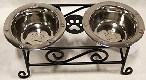 Wrought Iron Small Dog Feeder Raised Scroll With Stainless Steel Bowls Included – Hand Made By Amish of Lancaster County