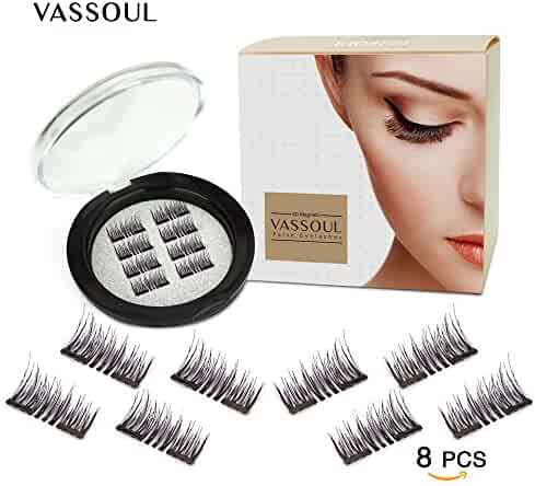 Vassoul Magnetic False Eyelashes - 0.2mm Ultra Thin, 3D Fiber Reusable Best Fake Lashes, Natural Handmade Extension Fake Eye Lashes, No Glue, 8 Pieces