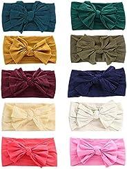 10 Pack Baby Girl Headbands baby bows Baby Turban Knotted Nylon Newborn Headbands Infant Toddler Baby Headband