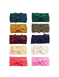 10 Pack Baby Girl Headbands baby bows Baby Turban Knotted Nylon Newborn Headbands Infant Toddler Baby Headbands and Bows Child Hair Accessories