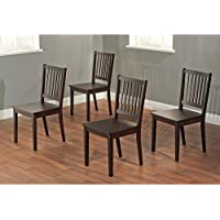 Metro Shop Slat Espresso Rubberwood Dining Chairs (Set of 4)