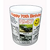 70TH BIRTHDAY MUG - PERSONALISED WITH YOUR NAME - Interesting facts on the year you were born by NWM-Gifts