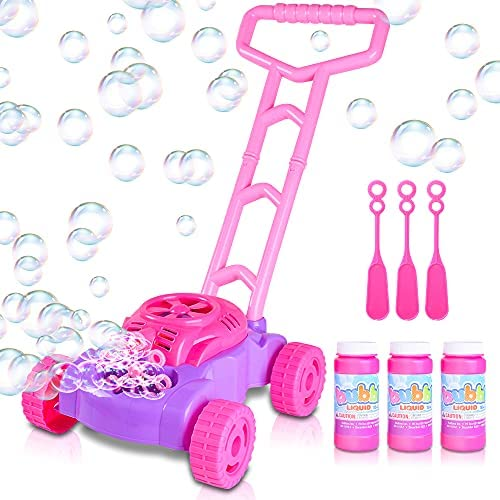 ArtCreativity Pink and Purple Bubble Lawn Mower for Toddlers | Electronic Bubble Blower Machine | Fun Bubbles Blowing Push Toys for Kids | Bubble Solution Included | Birthday Gift for Girls