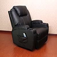 Unionline Heated Massage Recliner Chair 360 Degree Swivel PU Leather Ergonomic Lounge (Black chair)