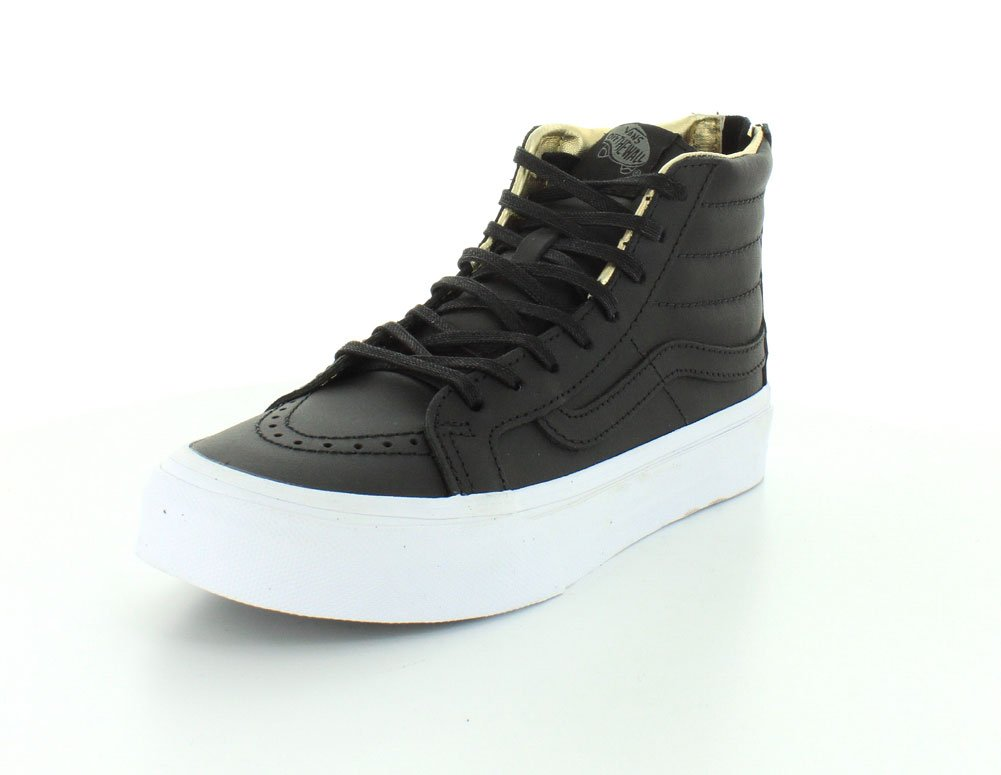 Vans Unisex Sk8-Hi Slim Women's Skate Shoe B00WY290OE 5.5 M US Women / 4 M US Men|Black/Gold