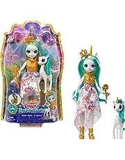 Enchantimals GYJ13 - Drottning Paradisdocka (20,3 cm lång) och påfågelfigur Rainbow, Ålder 4+