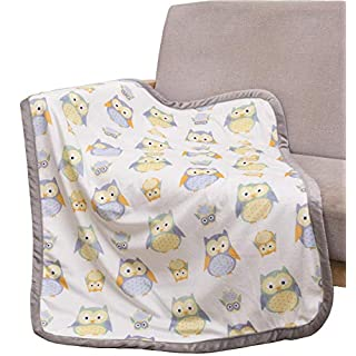 "Sunshine Owl Baby Fleece Blanket with Sherpa Backing Lightweight Super Soft Unisex Baby Plush Blankets for Girls Boys Newborn Toddler,30"" X 40"""