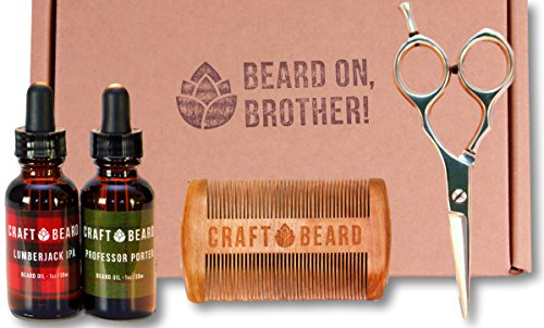Beard Grooming Kit with Scissors by Craft Beard | Beard  Mustache Grooming Supplies with TWO 100% Organic Beard Oils, Professional Beard Grooming Sci…